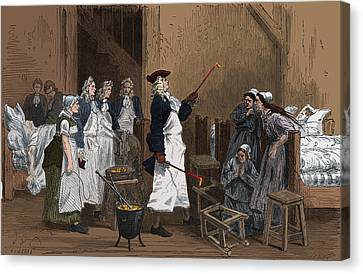 Hot Nurses Canvas Print - Herman Boerhaave Treating Hysteria by Science Source