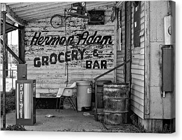Grocery Store Canvas Print - Herman Had It All Bw by Steve Harrington