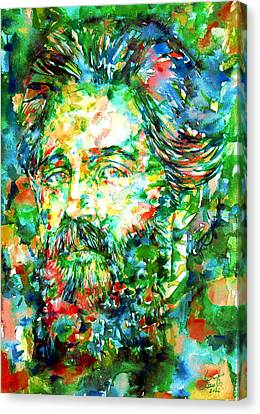 Herman Melville Watercolor Portrait Canvas Print by Fabrizio Cassetta