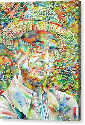 Hermann Hesse With Hat Watercolor Portrait Canvas Print by Fabrizio Cassetta
