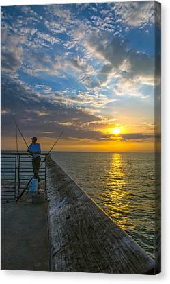 Hermosa Beach Pier I Canvas Print by Casey Grant