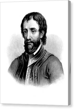 Canvas Print featuring the photograph Hernando De Soto, Spanish Conquistador by British Library