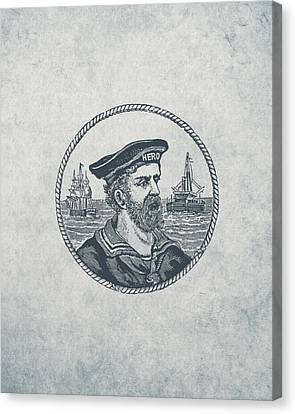 Hero Sea Captain - Nautical Design Canvas Print by World Art Prints And Designs