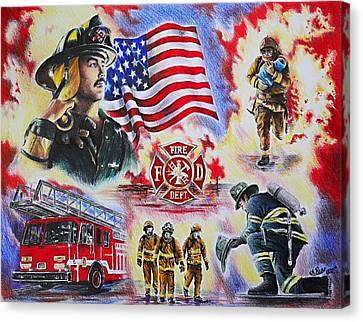 Flag Day Canvas Print - Heroes Collection American Firefighter by Andrew Read