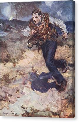 Courage Canvas Print - Heroic Middy Carrying Ammunition by Cyrus Cuneo