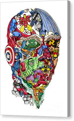 Comic Book Canvas Print - Heroic Mind by John Ashton Golden