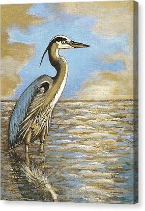 Canvas Print featuring the painting Heron At Bay by VLee Watson