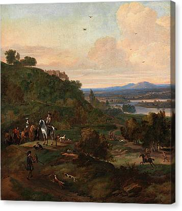 Heron Hawking Below Stirling Castle Hawking Scene Signed Canvas Print by Litz Collection