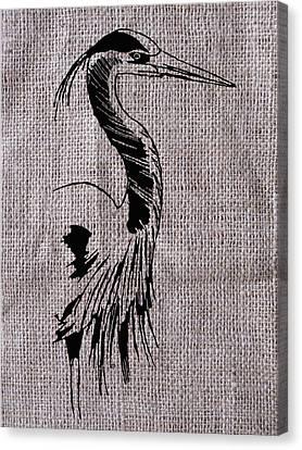Heron On Burlap Canvas Print