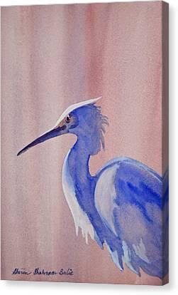 Canvas Print featuring the painting Heron by Shirin Shahram Badie