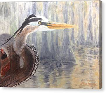 Canvas Print featuring the painting Heron by Stan Tenney