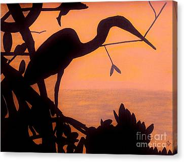 Canvas Print featuring the drawing Heron Sunset by D Hackett