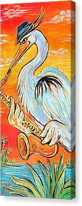 Heron The Blues Canvas Print by Robert Ponzio