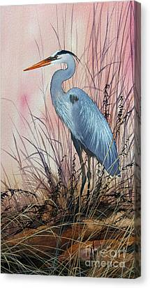 Herons Evening Shore Canvas Print by James Williamson