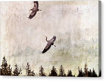 Canvas Print featuring the photograph Herons In Flight Monotone by Peggy Collins