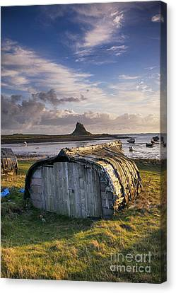 Herring Boat Hut Lindisfarne Hdr Canvas Print by Tim Gainey