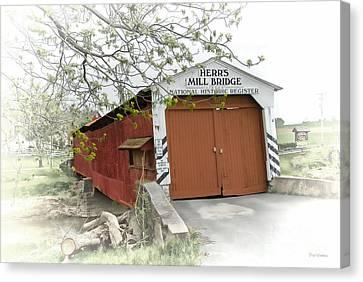 Herr's Mill Historic Bridge Canvas Print by Dyle   Warren