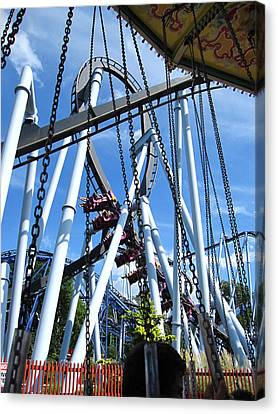 Hershey Park - Great Bear Roller Coaster - 121216 Canvas Print by DC Photographer