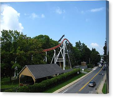 Hershey Park - Great Bear Roller Coaster - 12124 Canvas Print by DC Photographer