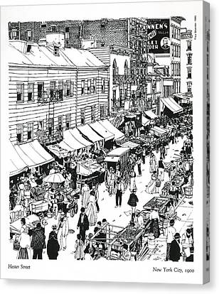 Canvas Print featuring the drawing Hester Street by Ira Shander