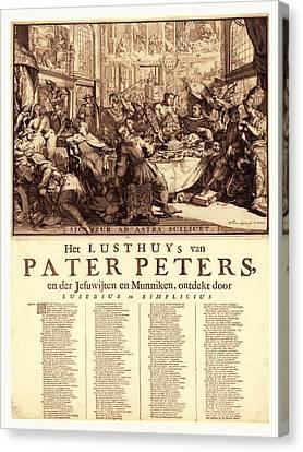 Het Lusthuys Van Pater Peters, En De Jesuwijten En Munniken Canvas Print by English School