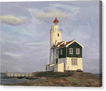 Canvas Print featuring the painting Het Paard Light House by Nop Briex