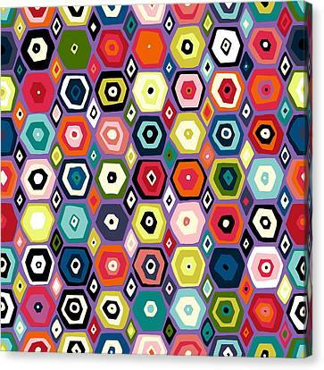 Patterned Canvas Print - Hex Diamond Purple by Sharon Turner