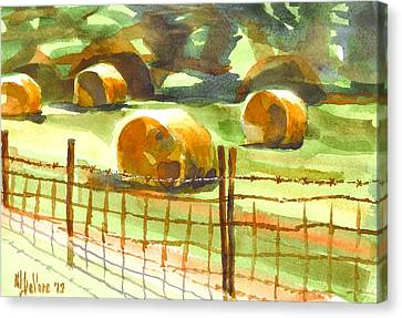 Hey Bales In The Afternoon Canvas Print by Kip DeVore