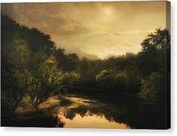 Hiawassee River At Dawn Canvas Print by William Schmid
