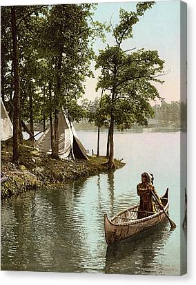 Hiawatha's Arrival Canvas Print by Underwood Archives