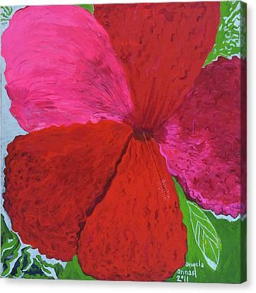 Hibiscus Explosion Canvas Print by Angela Annas