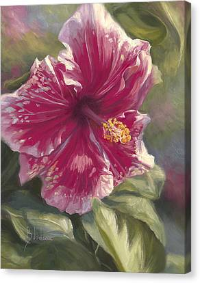 Hibiscus In Bloom Canvas Print by Lucie Bilodeau