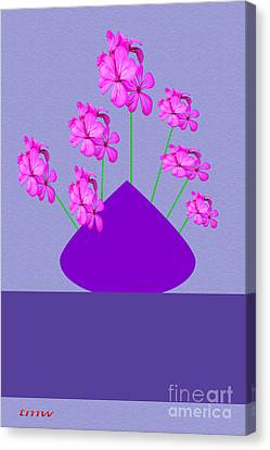 Digital Installation Art Canvas Print - Hibiscus On Vase by Tina M Wenger
