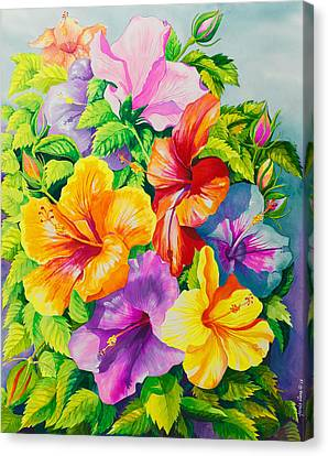Hibiscus Rainbow Array Canvas Print by Janis Grau