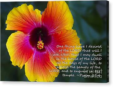 Hibiscus Scripture Canvas Print by Fred Ziegler