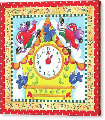 Hickory Dickory Dock Canvas Print by P.s. Art Studios
