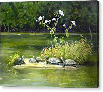 Canvas Print featuring the painting Hicks' Turtles by Sandra Nardone