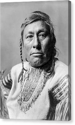 Braids Canvas Print - Hidatsa Indian Man Circa 1908 by Aged Pixel