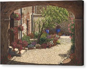 Hidden Garden Villa Di Camigliano Tuscany Canvas Print by Richard Harpum