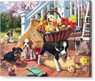 Hidden Images - Puppy Mischief Canvas Print