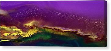 Hidden Moon Fluid Art By Kredart Canvas Print by Serg Wiaderny