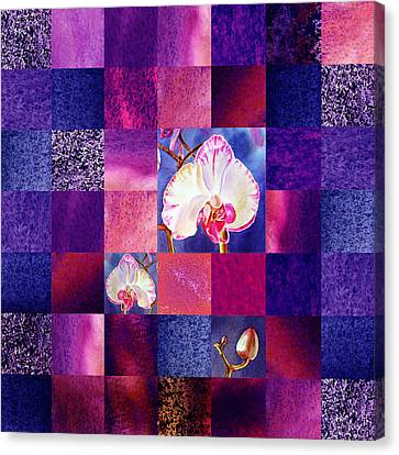 Hidden Orchids Squared Abstract Design Canvas Print by Irina Sztukowski