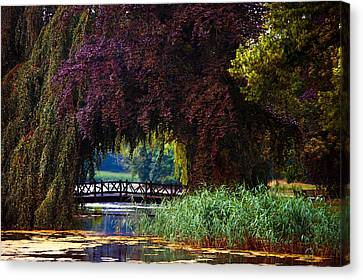 Hidden Shadow Bridge At The Pond. Park Of The De Haar Castle Canvas Print