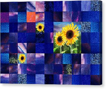 Digital Sunflower Canvas Print - Hidden Sunflowers Squared Abstract Design by Irina Sztukowski