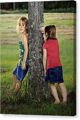 Canvas Print featuring the painting Hide And Seek by Glenn Beasley