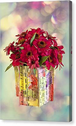 Canvas Print featuring the photograph Hide And Seek Zinnias by Sandra Foster