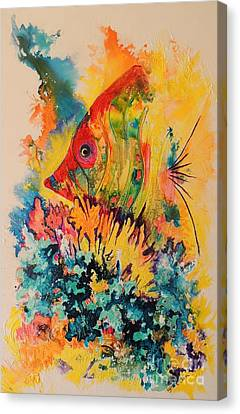 Canvas Print featuring the painting Hiding Amongst The Coral by Lyn Olsen