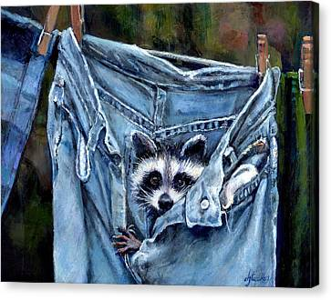 Hiding In My Jeans Canvas Print by Donna Tucker