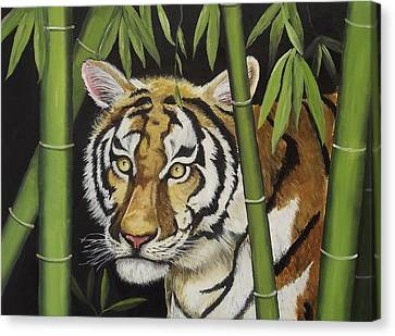 Hiding In The Bamboo Canvas Print by Wanda Dansereau