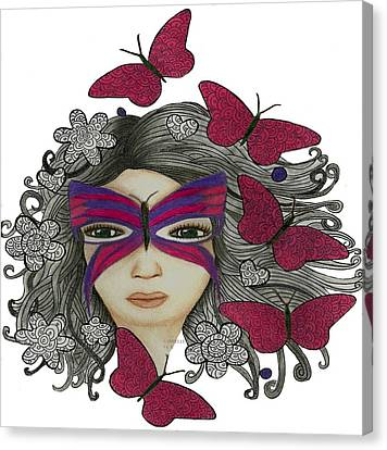 Hiding Me Pencil Drawing By Saribelle Rodriguez Canvas Print